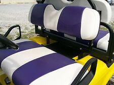 Ez-Go Txt Golf Cart Custom Vinyl Seat Covers-Front and Rear(White/Purple)