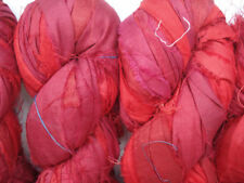 100 Skeins Crafts Sari Silk Ribbon Yarn Bright Red Undyed Recycled Ribbons