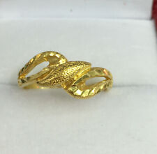 24K Solid Pure Gold Diamond Cut Band Ring 3.73 Grams. Size 6.5