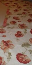 Peonies & Plaids Tab Valance Swag Lined Cotton Linen Blend Rust Teal Pink Tan
