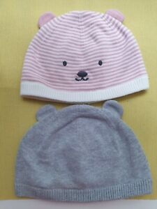 Next Baby Girl 2 Pack Hats Pink Grey With Ears Spring Autumn Winter Warm Pretty
