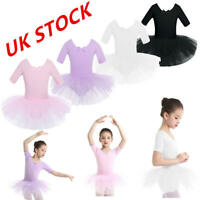 UK Girls Ballet Dress Kids Gymnastics Ballerina Dance Skating Tutu Dress Skirts