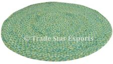 Indian Braided Floor Mat Round Reversible Rug Handmade Cotton Yoga Mat Throw
