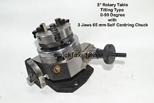 """HEAVY DUTY  ROTARY TABLE 3"""" with 65mm LATHE CHUCK FOR MILLING  MACHINES"""