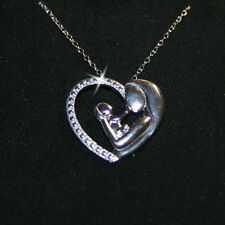 Tiny Diamond Mother Child Mom Baby Heart Pendant Necklace 14k WG over 925 SS