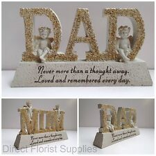 Mum And Dad Cream & Gold Letter & Cherub Graveside Memorial Plaque