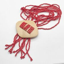 VINTAGE RED CORAL STYLE BEAD  COSTUME JEWELLERY NECKLACE
