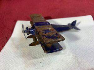 Vintage TootsieToy Seaplane Airplane Biplane Bi-Wing Aircraft metal w/ tin base