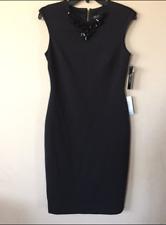 NWT TAHARI WOMENS BLACK SHEATH DRESS SLEEVELESS JEWEL EMBELLISHED DRESS SIZE 4