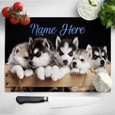 Personalised Chopping Board HUSKY Glass Kitchen Home Birthday DOG Gift SH130