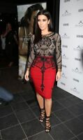 Womens Ladies Celebrity Kim Chiffon Velvet Skull Long Sleeve Midi Maxi Dress
