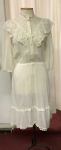 Vintage Gauze Dress Prairie Cottage Crew lace ruffles elastic waist Victorian