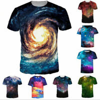Space 3D Printed Womens Mens Crew Graphic T-Shirts Casual Blouse