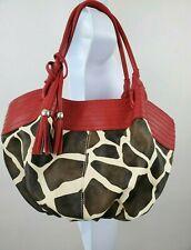 Giraffe w/Red Trim Tassel Faux Leather Medium Large Hobo Bag