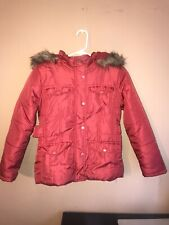 Girls size Large Dollhouse Quilted Winter Faux Fur Line Coat with hoodie