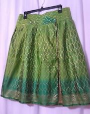 Handmade OOAK Unique REVERSIBLE A-Line Skirt, GREEN & GOLD OMBRE w/ Tulle, SZ M