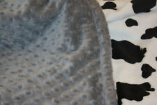 Lil' Cub Hub Minky Blanket - Black and white cow print with grey dot
