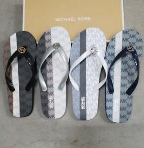 New Women's MICHAEL KORS PVC Flip Flops Logo Multi Color-block Sandals Shoes