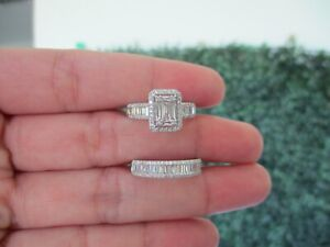 1.20 CTW Diamond Half Eternity&Engagement Ring 14k White Gold JS94R (PRE-ORDER)