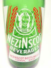 vintage ACL Soda Pop Bottle: green NEZINSCOT INDIAN of TURNER, MAINE - 28 oz