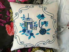 DESIGNERS GUILD FABRIC PAGODA TOILE LAPIS CUSHION COVER 40CMX40CM