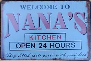 NANA'S KITCHEN Rustic Metal Tin Sign. Vintage Rustic Garage,  Bar & Man Cave
