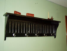 """42"""" Black Country Coat Rack With Satin Chrome Hooks Primtive Country Rustic"""