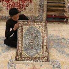 YILONG 2'x3' Blue Hand-knotted Silk Carpet Traditional Oriental Area Rug HF008A