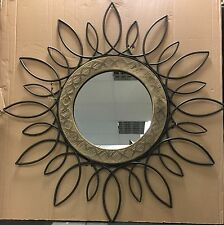 LARGE Vintage Rustic Ethnic Floral Metal Distressed Wood Wall Mirror NEW 81cm