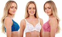 Ladies Ex M&S White Lace Bra Womens Non Padded Mesh Underwired Soft Cup