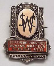 1938 Southern Counties Womens Athletics Solid Silver Art Deco Medal / Badge