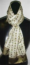 100% Silk Oblong Scarf Loden Green Print #1 New With Tags