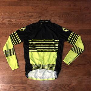 Mens Canari Bright Yellow/Black Longsleeve Full Zip Cycling Jersey Sz.  L