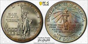 1986-P USA COMMEMORATIVE SILVER DOLLAR PCGS MS68 TONED MULTI COLOR