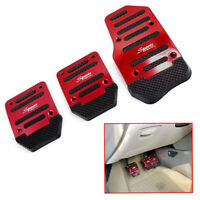 3Pcs Red Non Slip Car Pedal Cover Brake Clutch Accelerator Manual Transmission