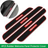 4PCS Black Rubber Car Door Sill Scuff Plate Cover Panel Step Protector Guard