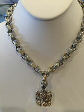 """Plating and Pendant Swirls with Cz 2433x 16"""" Necklace Silver Brass Rhodium"""