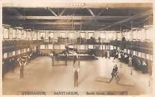BATTLE CREEK, MI ~ SANITARIUM GYMNASIUM ~ REAL PHOTO RPPC ~ used 1909