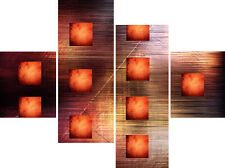 Large Abstract 4 Panel Set Canvas Picture Burnt Orange Squares Wall Art Print