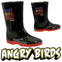 **BOYS ANGRY BIRDS WINTER SNOW MOON MUCKER WATERPROOF WELLINGTONS WELLIES BOOTS