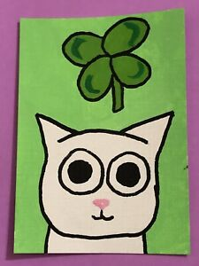 Original ACEO Art Card - White Cat - Four Leaf Clover - Acrylic Painting