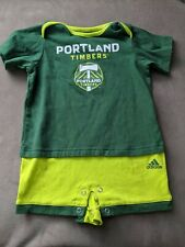 "Portland Timbers MLS Adidas Baby Green ""Little Kit"" Short Sleeve Romper 18M"