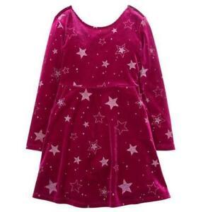 Gymboree WINTER STAR Raspberry Red Sparkle Velour Holiday Christmas Dress S/ 5-6