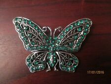 Ladies Brooch Green Butterfly Brooch with Diamante  Detail