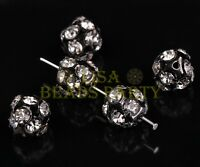 10pcs 12mm Round Silver Plated Crystal Rhinestone Loose Beads Findings Gun Black