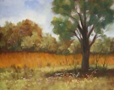 REDUCED Framed Landscape Plein Air Original Art Oil Painting 11x14 Oak Prairie