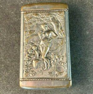 Vintage VESTA SILVER MATCH SAFE HOLDER NUDE FAIRY WOMAN AND CHILDREN Rare Old
