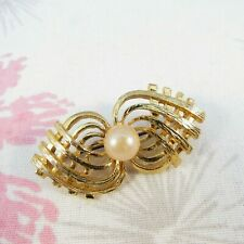 Pearl Bow Brooch Pin Vintage Goldtone Weave & Faux