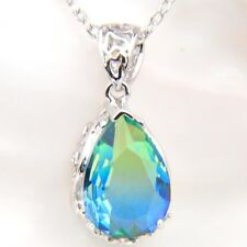 Newest Fire Green Blue BI-COLORED Tourmaline Silver Chain Pendants Necklaces