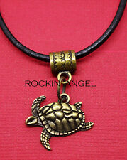 Vintage Bronce PLT Tortugas Marinas Colgante Collar Regalo para Hombre señoras Animal Marino
